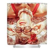 Retro 50s Beach Pinup Girl Shower Curtain