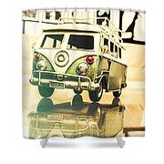 Retro 60s Toy Van Shower Curtain