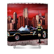 Retro Bat Woman Shower Curtain