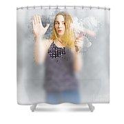 Retro Bathroom Cleaning Duties Shower Curtain