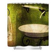 Retro Bathroom Grunge Shower Curtain