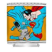 Retro Batman V Superman Shower Curtain
