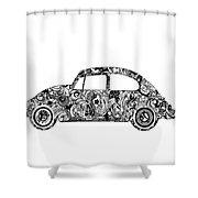 Retro Beetle Car 2 Shower Curtain