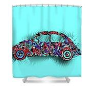 Retro Beetle Car 5 Shower Curtain