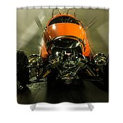 Retro Car In Orange Shower Curtain