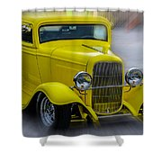 Retro Car In Yellow Shower Curtain