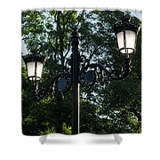 Retro Chic Streetlamps - Old World Charm With A Modern Twist Shower Curtain