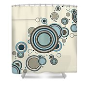 Retro Circles Streaming Shower Curtain
