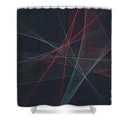 Retro Computer Graphic Line Pattern Shower Curtain