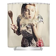 Retro Cooking Woman Giving Recipe Kiss Shower Curtain
