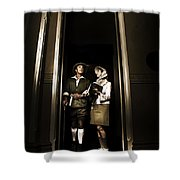 Retro Couple On Safari Shower Curtain