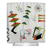 Retro Mid Century Modern Atomic Inspired Shower Curtain