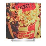 Retro Film Stub And Movie Popcorn Shower Curtain