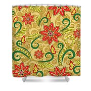 Retro Floral Seamless Pattern Shower Curtain