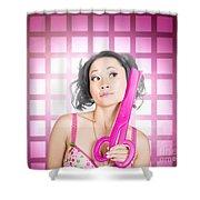 Retro Hairdresser Holding Big Pair Of Scissors Shower Curtain