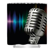 Retro Microphone Shower Curtain