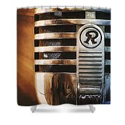 Retro Microphone Shower Curtain by Scott Norris