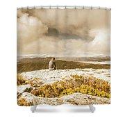 Retro Mountaintop Views Shower Curtain