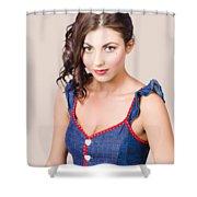 Retro Pin-up Girl In Blue Denim Dress Shower Curtain