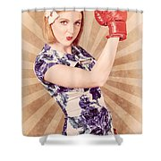 Retro Pinup Boxing Girl Fist Pumping Glove Hand  Shower Curtain