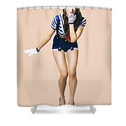 Retro Pinup Girl Blowing Travelling Departure Kiss Shower Curtain