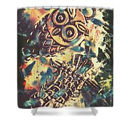 Retro Pop Art Owls Under Floating Feathers Shower Curtain