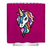 Retro Rainbow Unicorn Shower Curtain