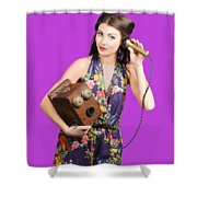 Retro Receptionist On Vintage Telephone. Call Us Shower Curtain