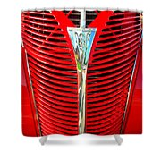 Retro Red Grille Shower Curtain