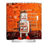 Retro Robotic Nostalgia Shower Curtain