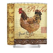 Retro Rooster 1 Shower Curtain