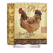 Retro Rooster 1 Shower Curtain by Debbie DeWitt