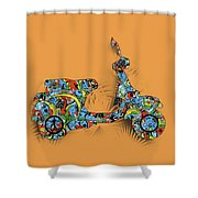 Retro Scooter 2 Shower Curtain