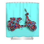 Retro Scooter 3 Shower Curtain