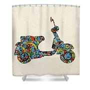 Retro Scooter Shower Curtain