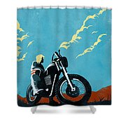 Retro Scrambler Motorbike Shower Curtain