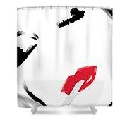 Retro Smoking Woman Portrait Shower Curtain