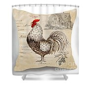 Retro Style Beige Chicken Rooster Farm House Shower Curtain