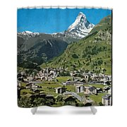 Retro Swiss Travel Zermatt And Mount Matterhorn  Shower Curtain