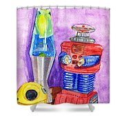 Retro Toys Shower Curtain