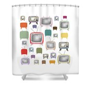 Retro T.v. Shower Curtain
