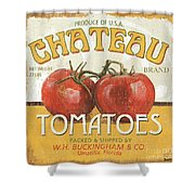 Retro Veggie Labels 4 Shower Curtain by Debbie DeWitt