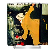 Retro Vintage Italian Coffee Machine Advertising Shower Curtain