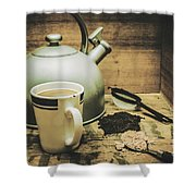 Retro Vintage Toned Tea Still Life In Crate Shower Curtain