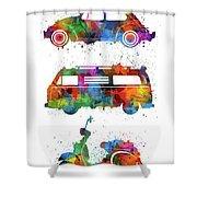 Retro Wheels Watercolor Shower Curtain