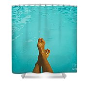 Retro Young Girl Relaxing Her Feet At Swimming Pool Shower Curtain