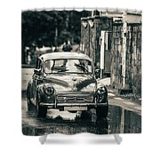 Retromobile. Morris Minor. Vintage Monochrome Shower Curtain