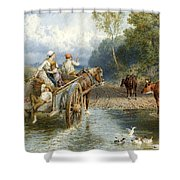 Returning From Market Shower Curtain