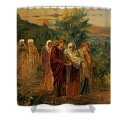 Returning From The Burial Of Christ Shower Curtain