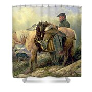 Returning From The Hill Shower Curtain by Richard Ansdell